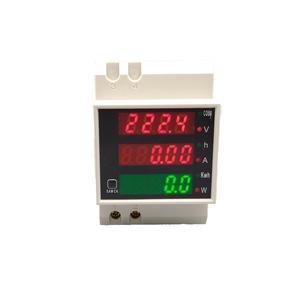 Din Rail Led Voltmeter Amperemeter Actief Vermogen En Power Factor Tijd Energie Meter Spanning Stroom Ac 80-300V 0-100.0A