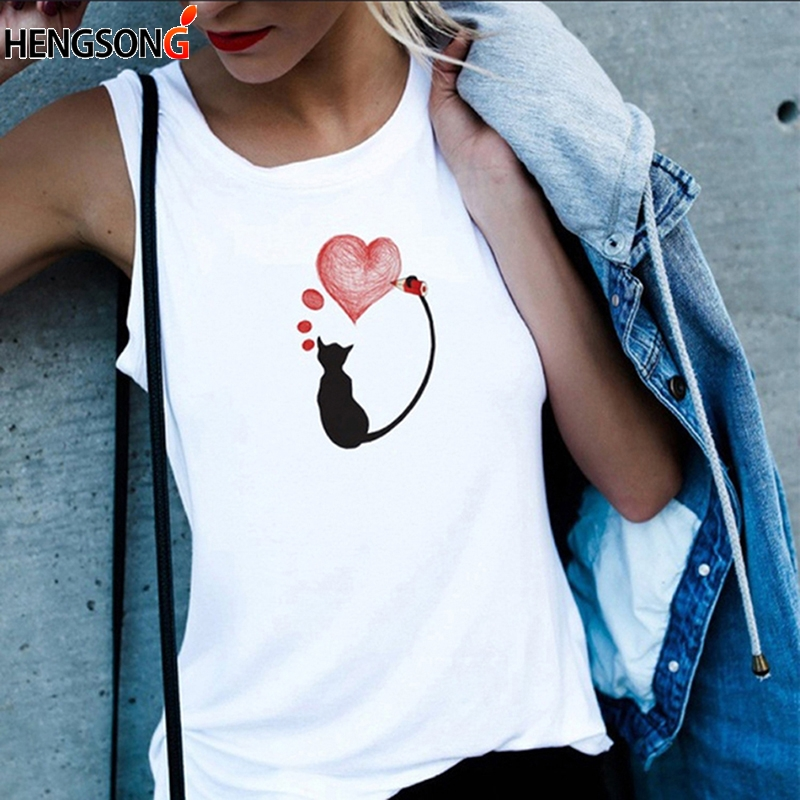 Summer Women's White Tank Tops Ladies Cute Cat Print Casual Vest Sleeveless Tops Tee Female White O-Neck T-shirts Camisole Camis