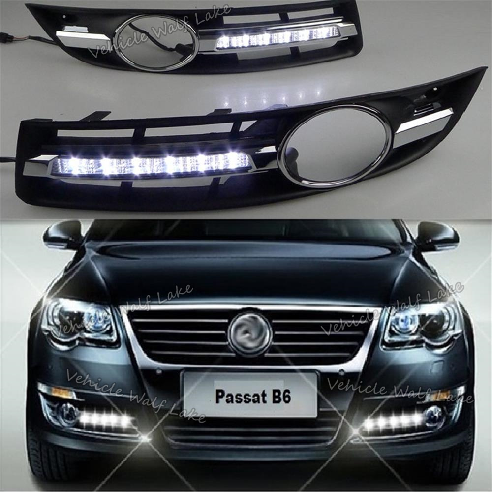 2Pcs X LED DRL For VW Passat B6 2006 2007 2008 2009 2010 2011 Car-styling LED DRL Daytime Running Light Waterproof With Harness