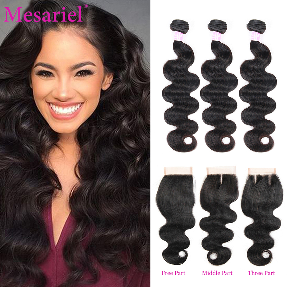 Mesariel Body Wave Bundles With Closure Brazilian Hair Weave 3 4 Bundles With Closure Non Remy Human Hair Bundles With Closure