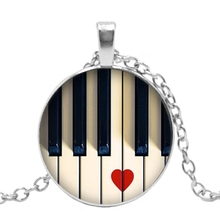 Fashion 2019 New Handmade Necklace Piano Music Notes Musical Instrument Glass Pendant Personalized Gift