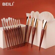 BEILI acajou rouge bois pinceaux de maquillage professionnel Kit fond de teint fard à paupières Blush naturel 13 pièces maquillage du visage ensemble de pinceaux