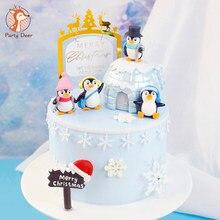 Feliz natal chapéu cachecol inverno pinguim bolo topper para o chuveiro do bebê floco de neve natal festa de cozimento decoração sobremesa suprimentos
