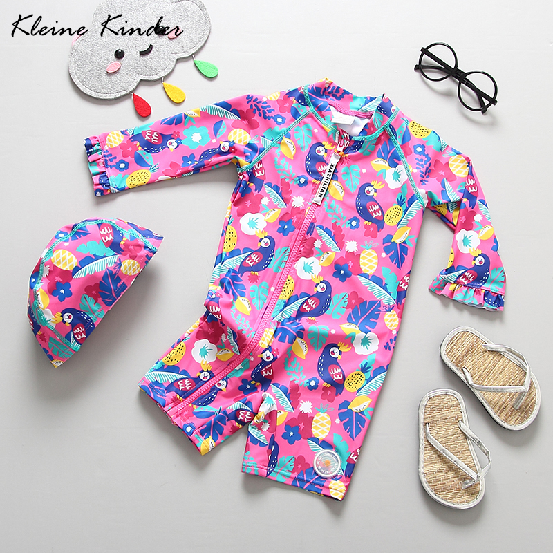 1-7T Infant Baby Bademode Einem Stück kinder Badeanzug für Mädchen mit Kappe UV Block Langarm zipper Kleinkind Mädchen Badeanzug