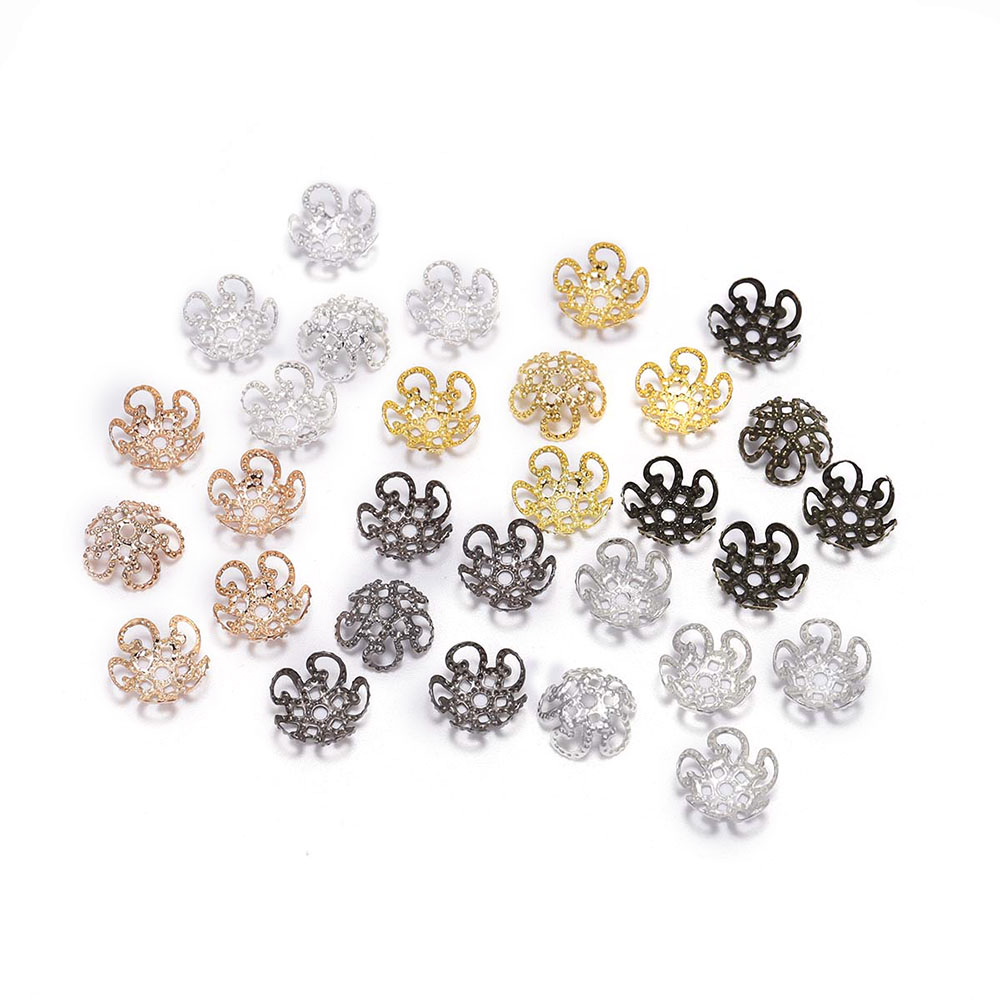 100pcs 8 10mm Silver Gold Metal Hollow Flower Spacer Beads End Caps Pendant DIY Charms Connectors For Jewelry Making Findings