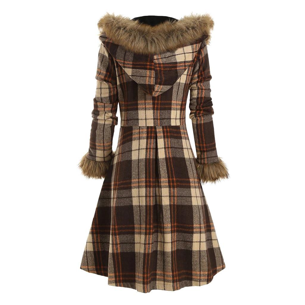 Винтажное платье, зимнее шерстяное платье с меховым капюшоном, красное, белое, коричневое платье в клетку, женское приталенное платье с пояс...