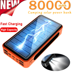 80000 MAh Solar Power Bank Outdoor Emergency Big Capacity Charger LED Lighting External Battery Pack for Samsung IPhone Xiaomi
