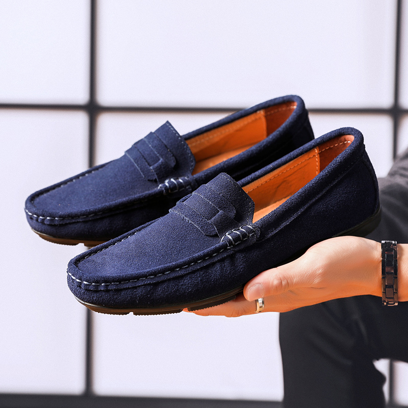 Get-in Men Suede Leather Loafers Driving Shoes Moccasins Summer Mens Casual Shoes Flat Breathable Flats,Blue,7,France