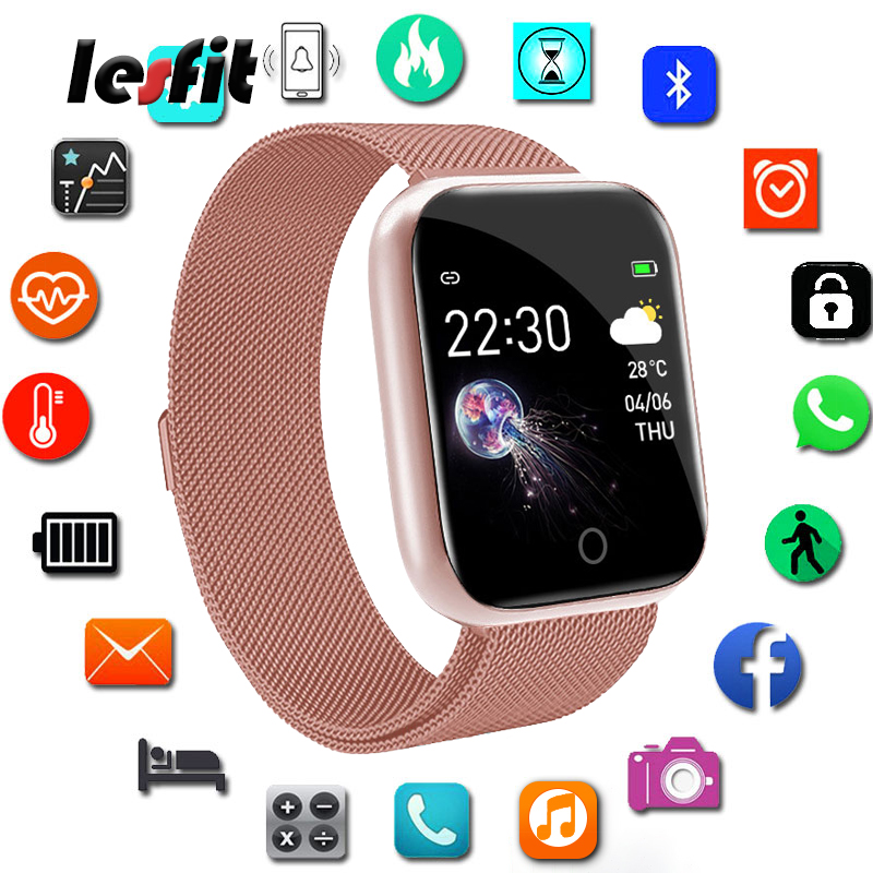 Lesfit Pink Stainless Steel Digital Smart Wristbands Watch Android Ladies Smart Digital Watch Bracelet Bluetooth Fitness Tracker