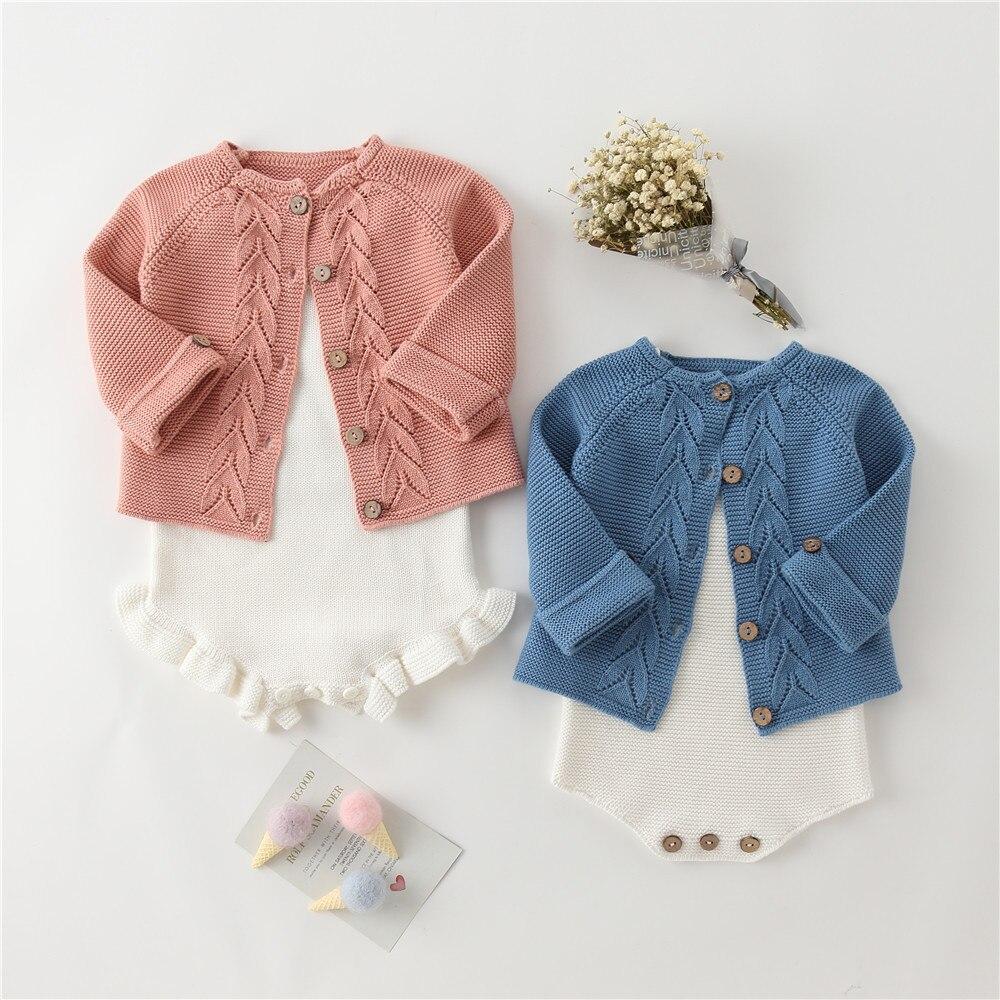3D Leaves Design Knit Boys Girls Sweater Bebes Cardigan Kids  Baby Toddler Romper Clothing Set Knitting Children Spring Clothes