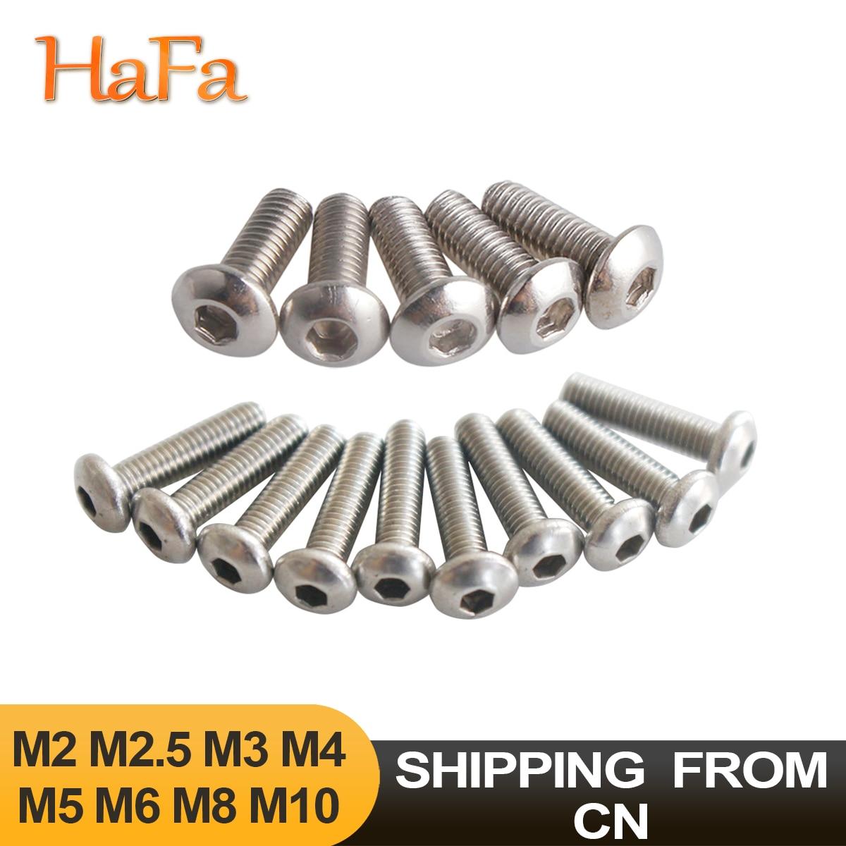 5/10/20/50 шт. шестигранный болт с круглой головкой шестигранный болт 304 A2 нержавеющая сталь M2 M2.5 M3 M4 M5 M6 M8 M10 ISO7380