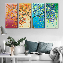 4 Panels Landscape Wall Art Canvas Prints Modular Pictures Modern Four Seasons Changes Posters and Home Decor