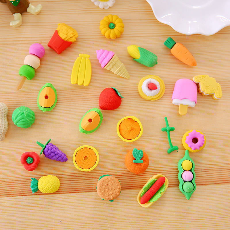 Vegetable Fruit Dessert Dinosoar Erasers  4pcs/1pack School Rubber Gift For Girls Boys Cute Cartoon Kawaii Toys