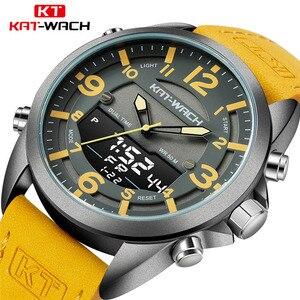 Image 1 - Double fuseau horaire nager hommes montre de sport calendrier numérique montres à Quartz étanche 50M horloge militaire Relogio Masculino