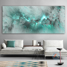 Light blue cloud abstract oil painting free-standing wall painting and living room oil painting modern art posters and prints