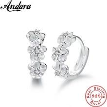 Pendientes de plata de ley 925 para mujer, aretes redondos de flor pequeña, abalorio, regalo de joyería