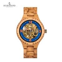 BOBO PÁSSARO Relógio Máquinas Automáticas Relógios À Prova D' Água Relógio de Luxo Da Marca Dos Homens De Madeira Projeto Popular Aceitar Personalizado Na Caixa de Presente