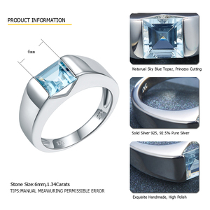 Image 2 - LP Topaz Princess Cut 1.34 Carats Womens Ring Solid Silver 925 Natural Gemstone Ring Fine Jewelry anillos plata 925 para mujer