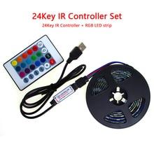 RGB Led 5V Strip USB PC White Black PCB SMD 5050 50CM- 5M Waterproof USB 5 V RGB Led Light Strip Tape USB 24Key Controller Set