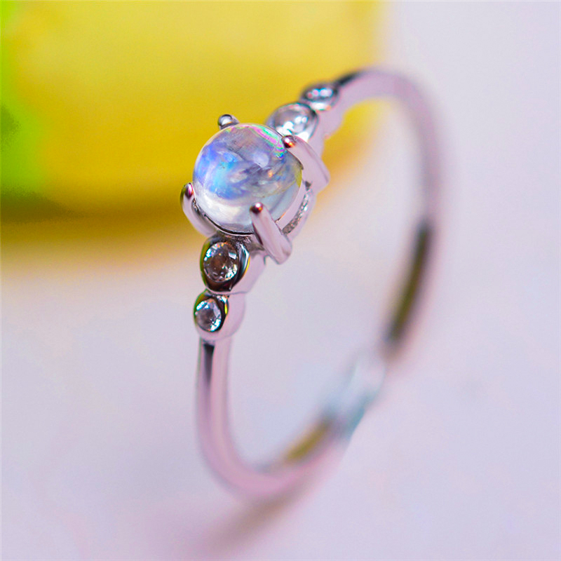 Boho Female Small Round Natural Moonstone Ring 100% Real 925 Sterling Silver Adjustable Ring Love Engagement Rings For Women