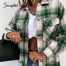 Simplee Casual Green Plaid top Versatile drop shoulder sleeve Lapel long sleeve shirt Street style women's spring autumn top
