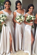 Bridesmaid Dresses Silver Sleeveless Lace Appliques Women Formal Party Gowns Chiffon Plus Size Wedding Guests Dress plus size flower sleeveless dress