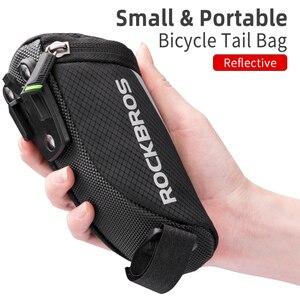 Image 1 - ROCKBROS Bike Bag Portable Reflective Saddle Bag Tail Seatpost Nylon Bicycle Bag MTB Road Bike Bag Panniers Bicycle Accessories