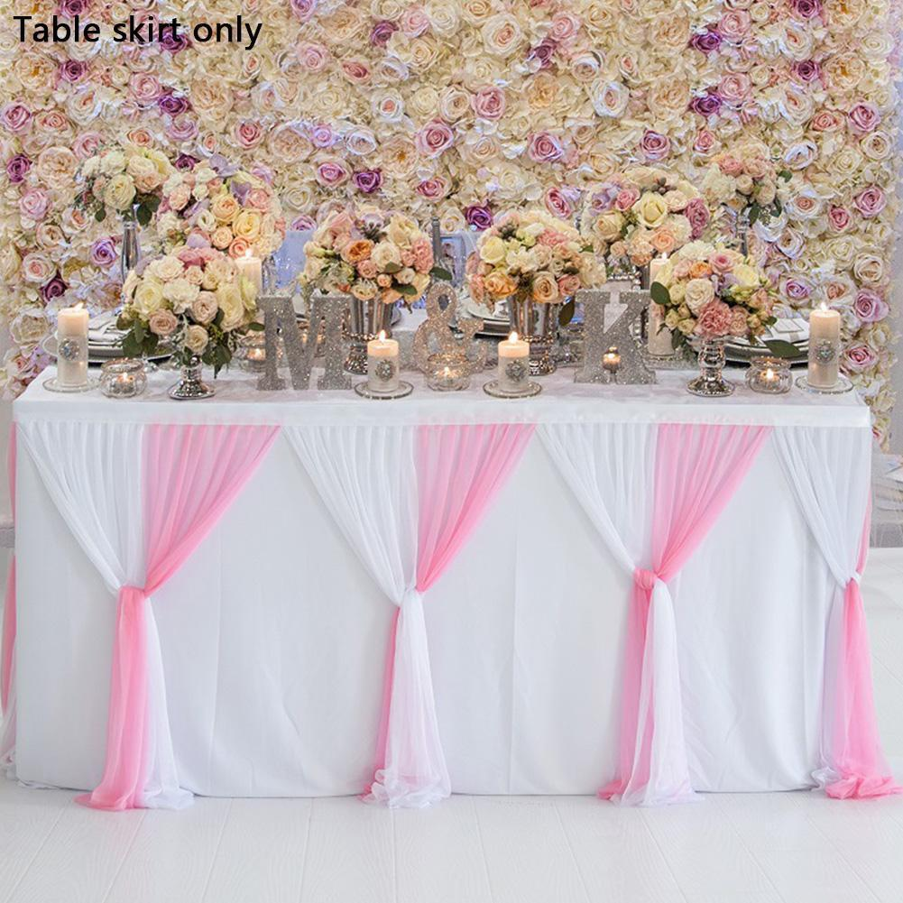 Tulle Table Skirt For Round Rectangle Table Baby Showers Birthday Party Wedding Decor Table Skirt Stripe Style Tablecloth
