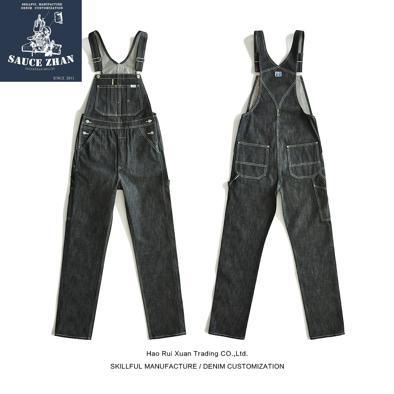 SauceZhan BD01  Bib Jeans Vintage Torn Overalls Selvedge Jeans Jeans Raw Denim Overalls For Men Suspender Jeans Men Blue Jeans