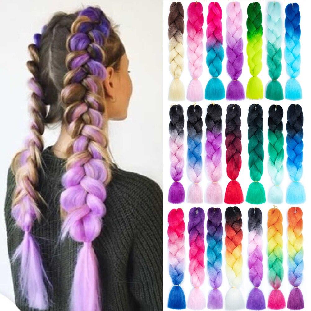 Ombre Jumbo Braiding Hair Extensions 24 Inch Prestretched Big Braids Synthetic Kanekalon Braiding Hair Purple Twist Box Braids