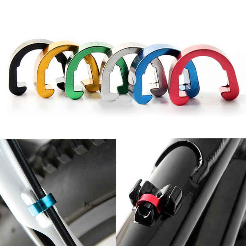 5 PCS Mountain Bike C-type Button Aluminum Alloy Brake Line Tube Fixed Button Bicycle Line Clamp Frame Fixed Buckle