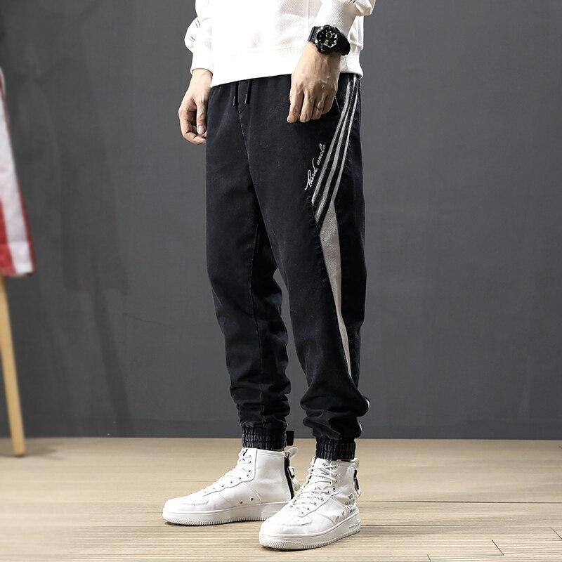 Korean Style Fashion Men Jeans Loose Fit Stripe Spliced Designer Harem Jeans Men Cargo Pants Slack Bottom Hip Hop Joggers Jeans