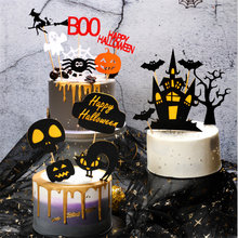 1 set Halloween Decoration Black Castle Bat Flag Pumpkin Witch Party Birthday Cake Topper Halloween Cake Decorations Tools