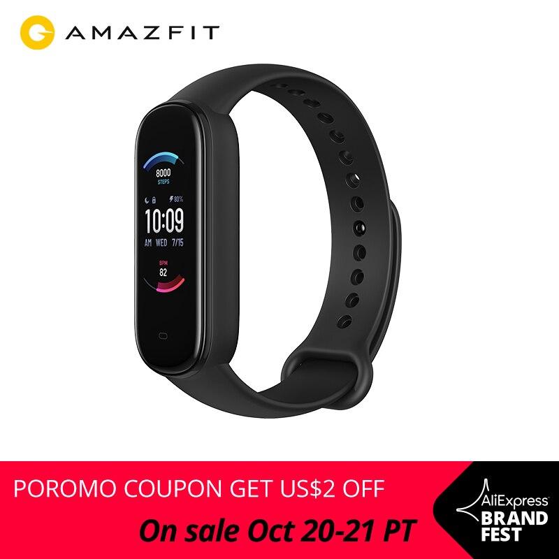 Смарт-браслет Amazfit Band 5, цветной дисплей, пульсометр, фитнес-трекер, водонепроницаемый, Bluetooth 5,0, спортивный смарт-браслет, 2020