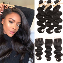 Remy Forte Body Wave Bundles With Closure 30 Inch Bundles With Closure Peruvian Hair Weave Bundles 3/4 Bundles Remy Human Hair
