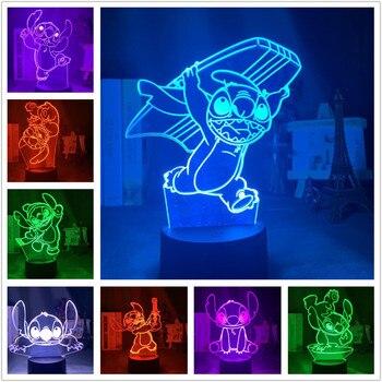 Disney Stitch 3D LED luz de noche Linda Lampara decoración del hogar...