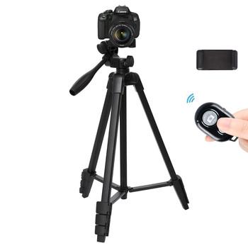 Profesjonalny stojak trójnóg aparatu z Bluetooth do aparatu Canon Nikon Sony DSLR aparat fotograficzny statyw do aparatu telefonicznego Max 136CM tanie i dobre opinie Fotulato Punkt i Strzelać Kamery SMARTPHONES Lustrzanki Kamera wideo CN (pochodzenie) Profesjonalny statyw Aluminium 900g
