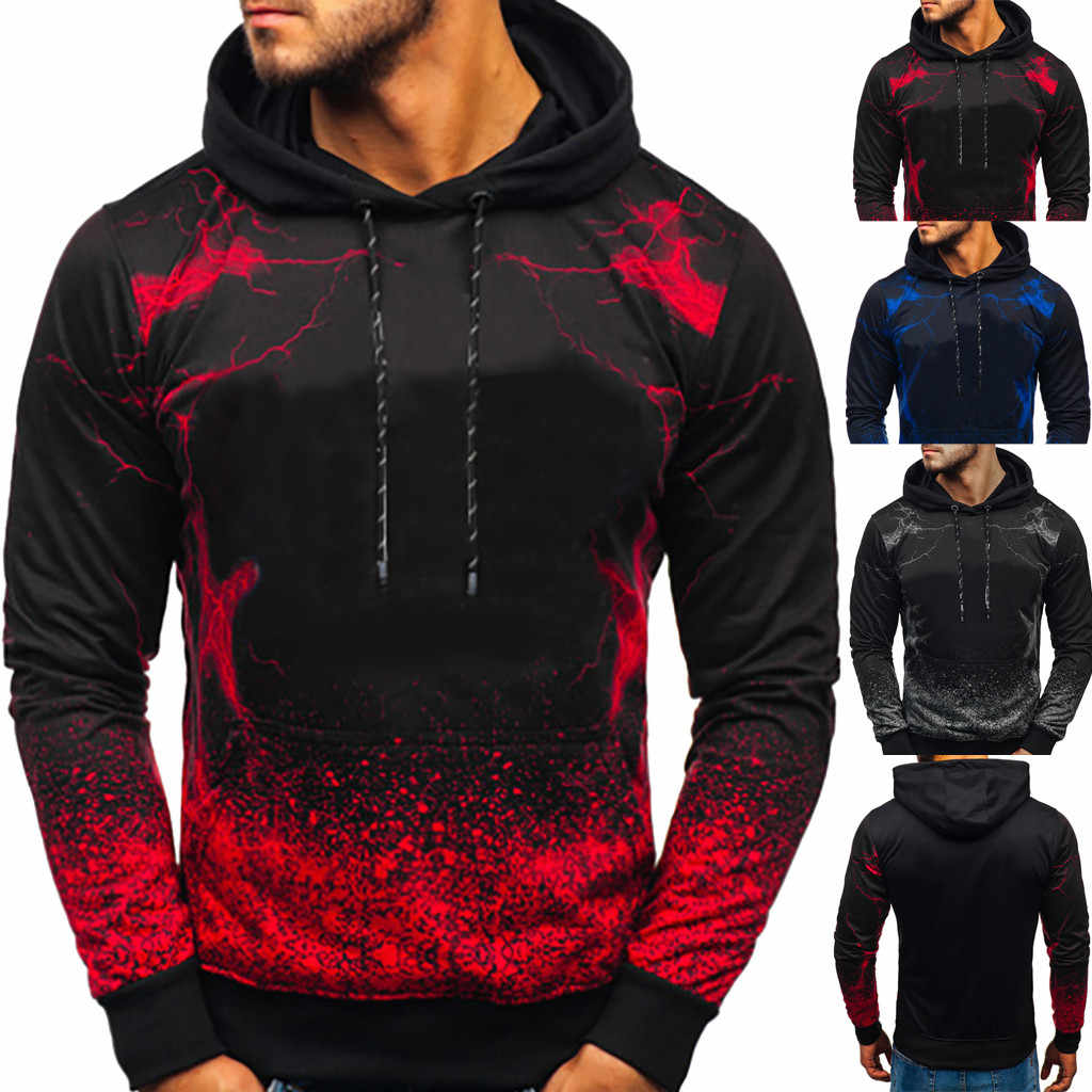 Men's Hoodies Sweatshirts Hooded Streetwear Men's Fashion Long-sleeved Round Neck Gradien Color Printing Blouse hoodies