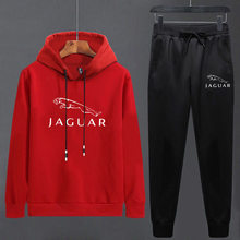 Couples 2020 Spring Long Sleeve Running Set JAGUAR Print Solid Color Jogging Outdoor Suit Young Hooded Sport Clothes(China)