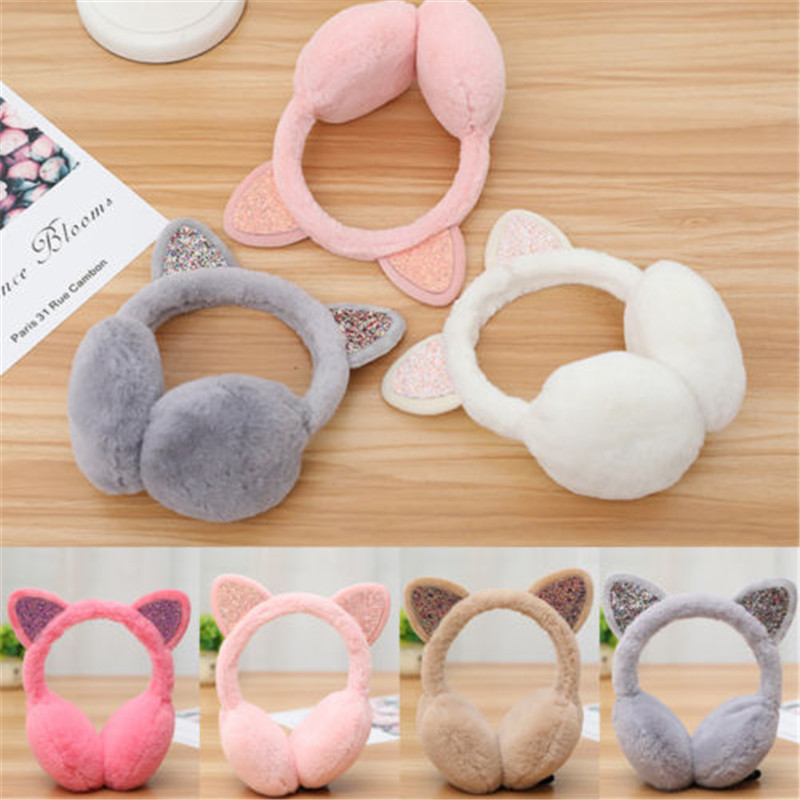 Christmas Winter Cartoon 3D Cat Earmuffs Plush Warm Women Ear Protect Sequined Shinny Soft Glitter Cute Earcap