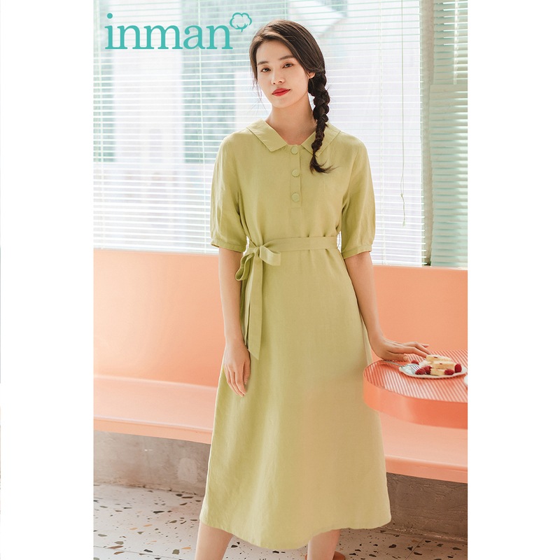 INMAN 2020 Summer New Arrival Short Sleeve Bowknot Turn Down Collor Pure And Fresh A-line Dress