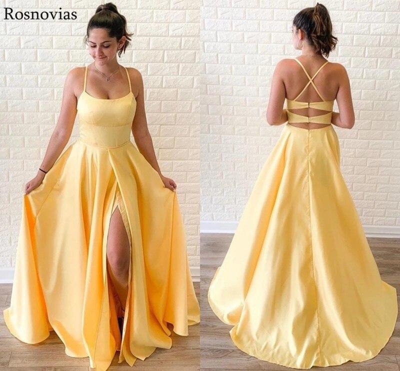 Bon marché côté jaune Split robes de bal 2019 Spaghetti sangle dos nu balayage Train Vestige formelle soirée robes longue personnalisée