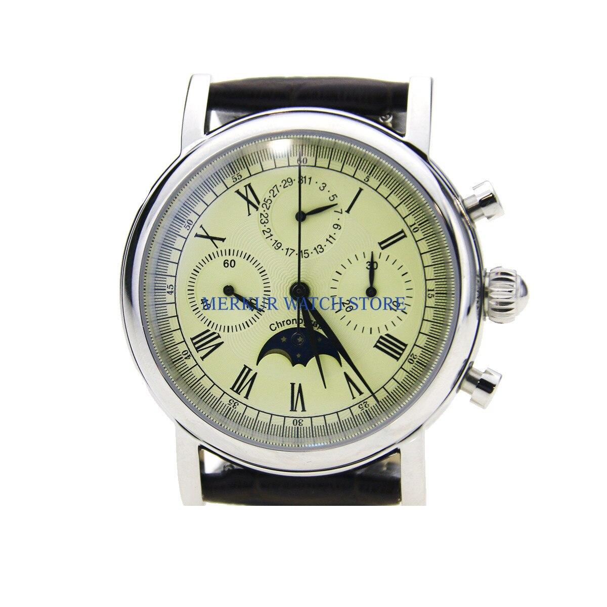 Geen logo Herenhorloge Mechanische Chronograaf Pilot 1963 Jurk Horloge Jurk Meeuw Beweging St1908