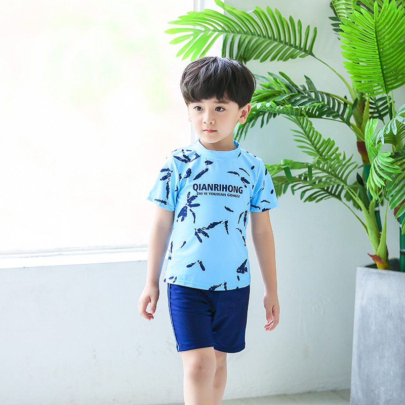 KID'S Swimwear Large Children Boy Baby Teenager Students Split Type Cute Cartoon Swimming Trunks Students Tour Bathing Suit