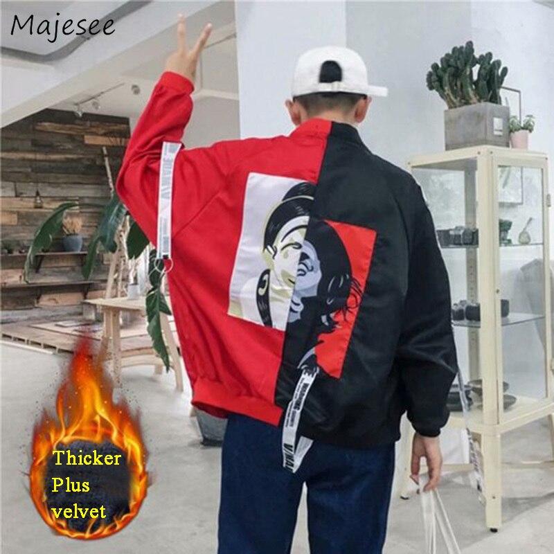 Jackets Men Thicker Plus Velvet Warm Printed Patchwork Leisure Harajuku Simple All-match Korean Style Jacket Mens Trendy Coats