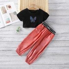 Letnie dzieci dziewczęce ubrania zestaw nastolatek dzieci z krótkim rękawem UltraShort T-shirt + legginsy na co dzień spodnie dziecięcy zestaw bawełniany