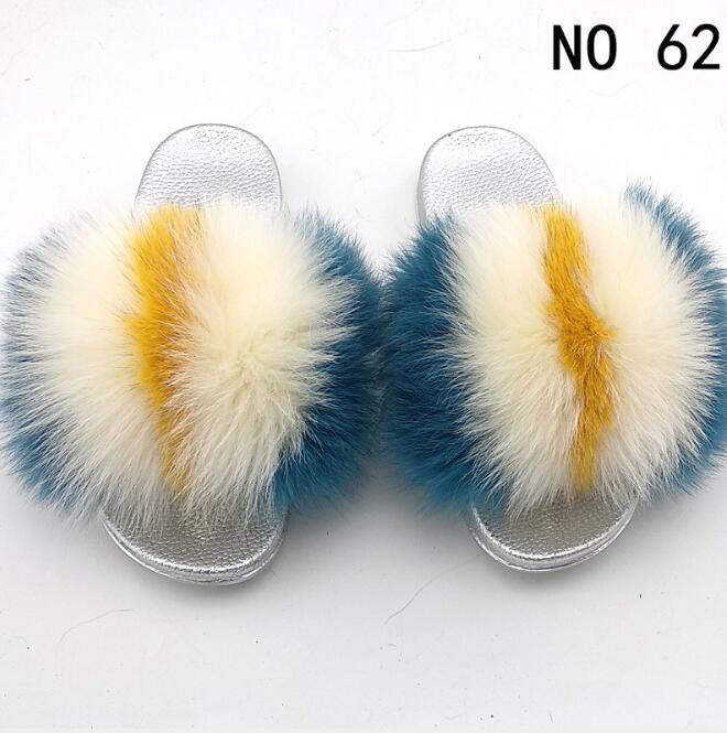 Spring And Autumn Flip Flops  Fur Hair Color Matching Slippers Women's Home Fashion Non-slip Contrast Color Wear Fur Flip Flop