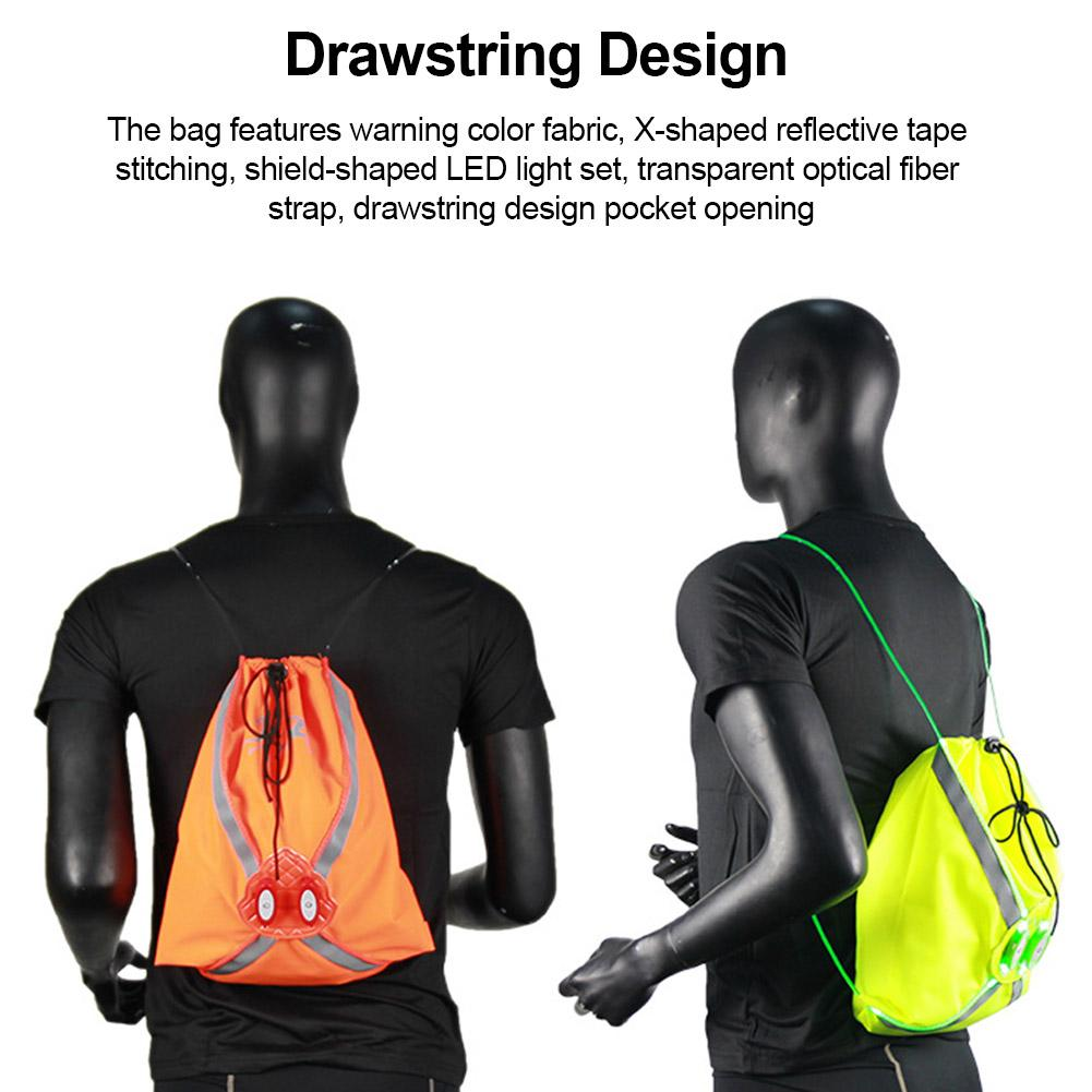 Sports Bag With LED Light Drawstring Reflective Large Capacity Multifunctional Backpack Outdoor Sports Cycling Storage Bag