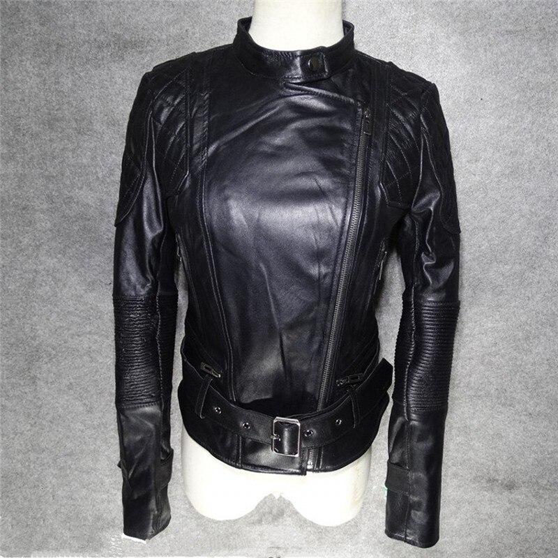 Brand Fashion Punk Women Sheepskin Real Leather Short Jacket Rock Slim Fit Female Biker Riding Outwear Coat Boyfriend Streetwear