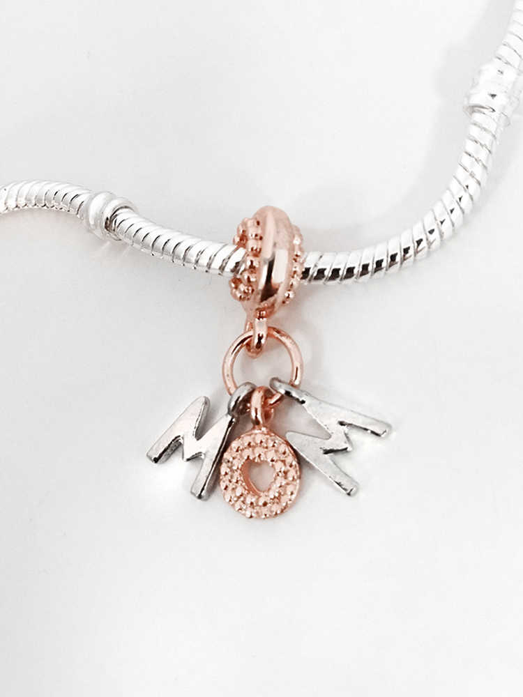 Seialoy Nieuwe Rose Gold Mom Brief Hanger Charms Fit Originele Pandora Kralen Armband Ketting Diy Vrouwen Moeder Familie Sieraden Gift